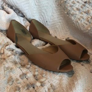 {Nine West} Camel Peep-Toe Flats Size 7